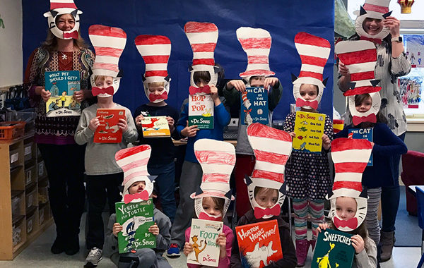 Kindergarten class celebrating Dr. Seuss.